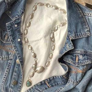 Sterling turquoise concho necklace